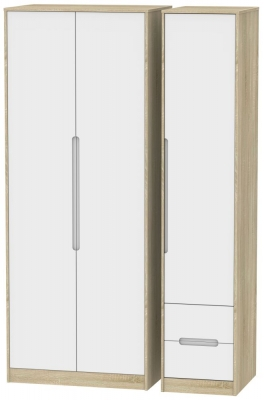 Monaco 3 Door 2 Right Drawer Tall Wardrobe - White Matt and Bardolino
