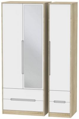 Monaco 3 Door 4 Drawer Tall Combi Wardrobe - White Matt and Bardolino