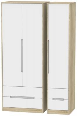 Monaco 3 Door 4 Drawer Tall Wardrobe - White Matt and Bardolino
