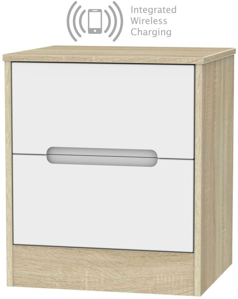 Monaco 2 Drawer Bedside Cabinet with Integrated Wireless Charging - White Matt and Bardolino