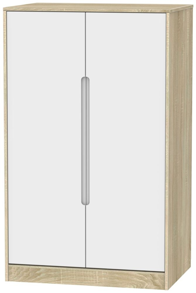 Monaco 2 Door Midi Wardrobe - White Matt and Bardolino