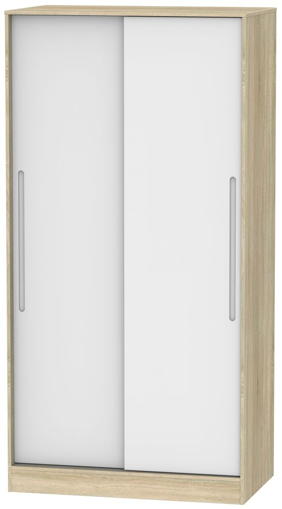 Monaco 2 Door Sliding Wardrobe - White Matt and Bardolino