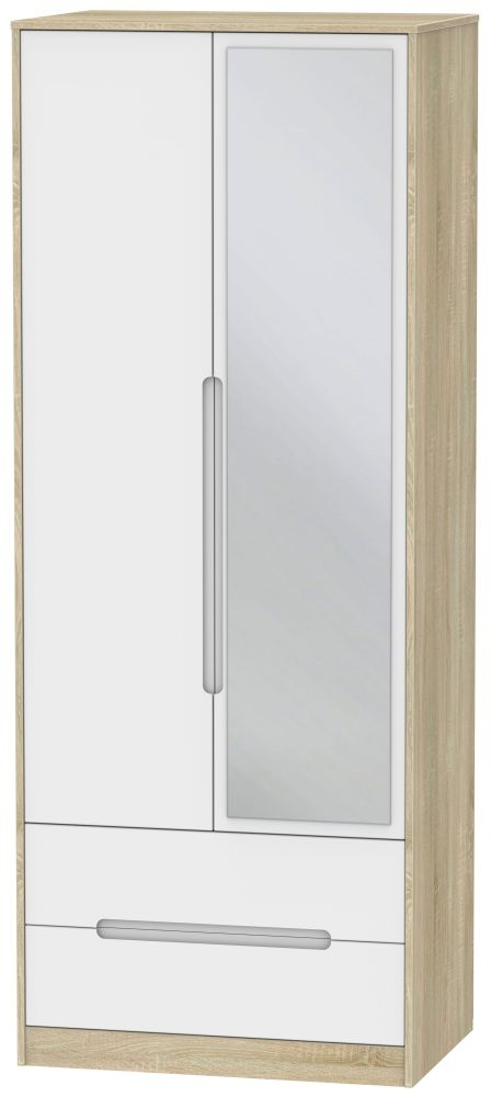 Monaco 2 Door Tall Combi Wardrobe - White Matt and Bardolino