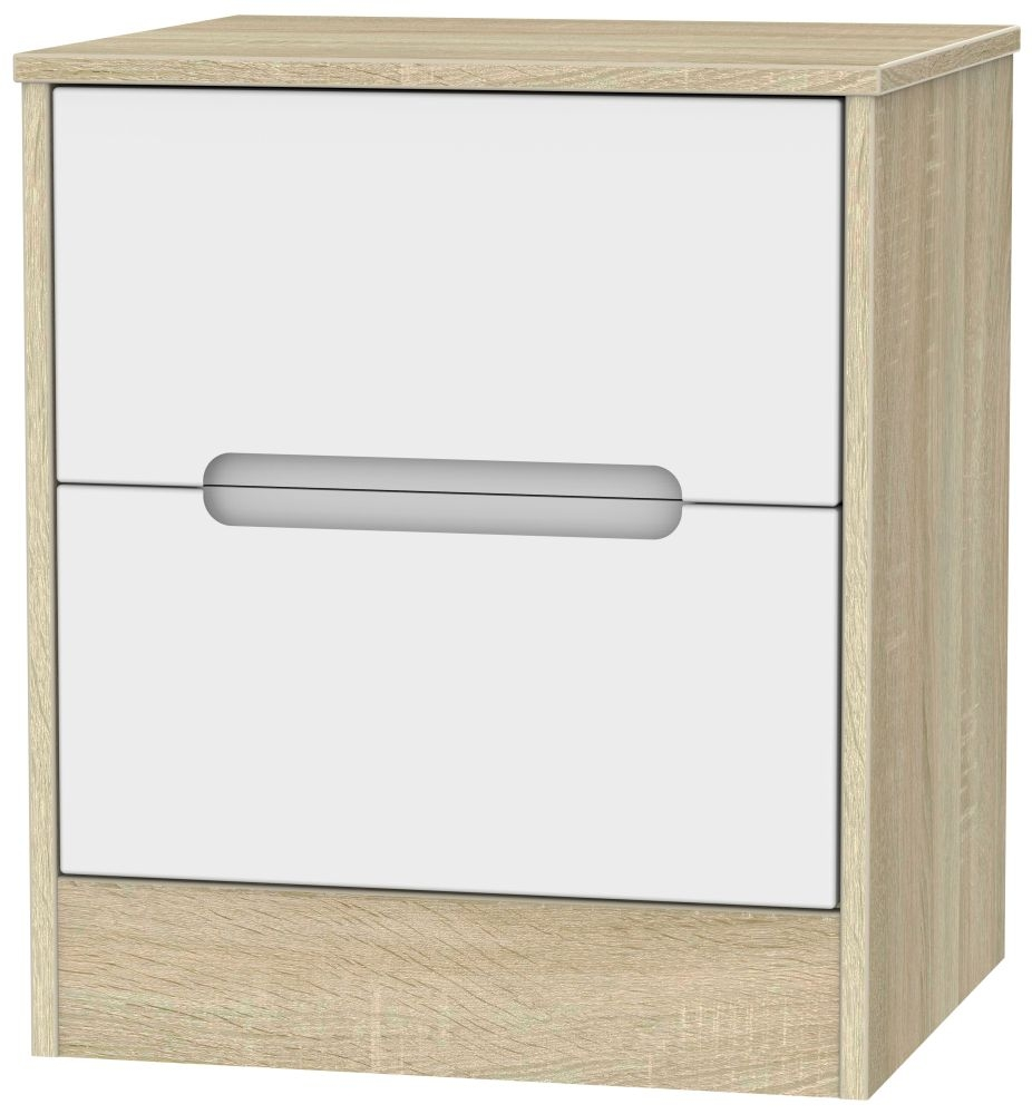 Monaco 2 Drawer Bedside Cabinet - White Matt and Bardolino