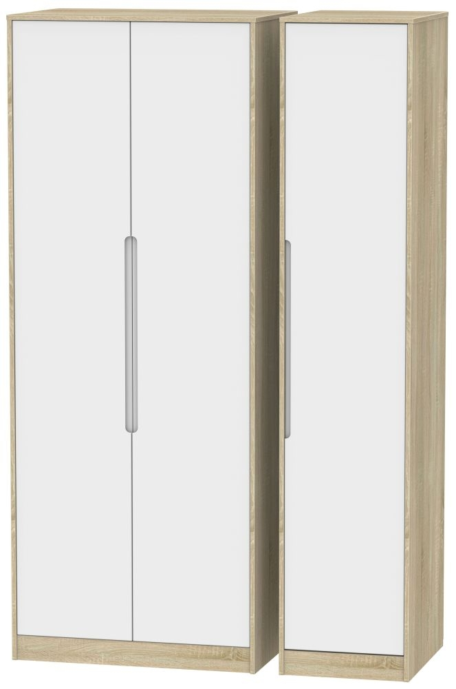 Monaco 3 Door Tall Wardrobe - White Matt and Bardolino