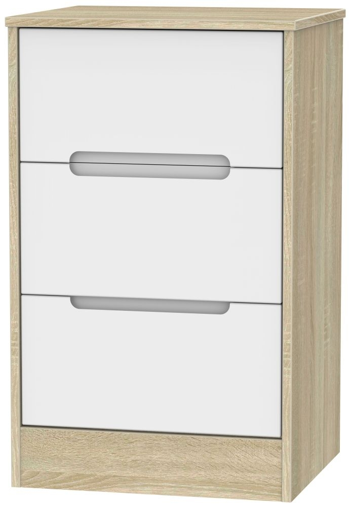 Monaco 3 Drawer Bedside Cabinet - White Matt and Bardolino