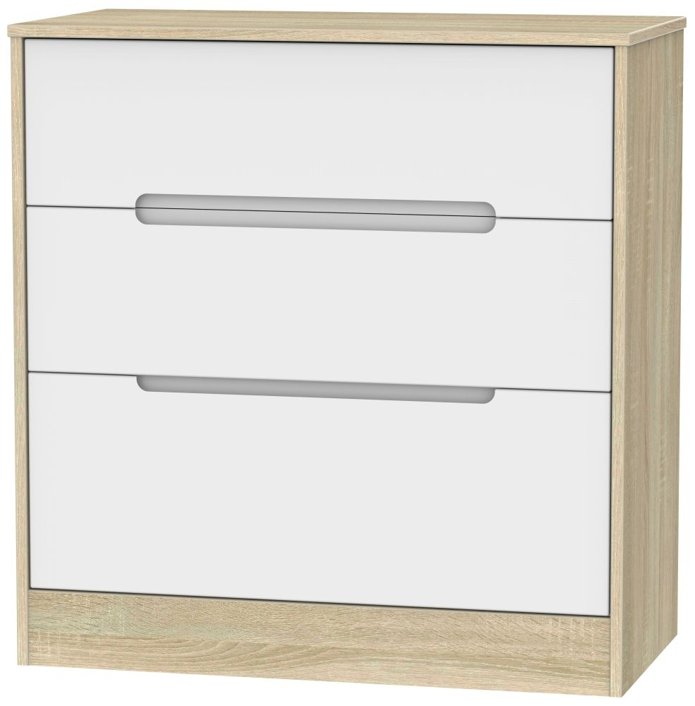 Monaco 3 Drawer Deep Chest - White Matt and Bardolino