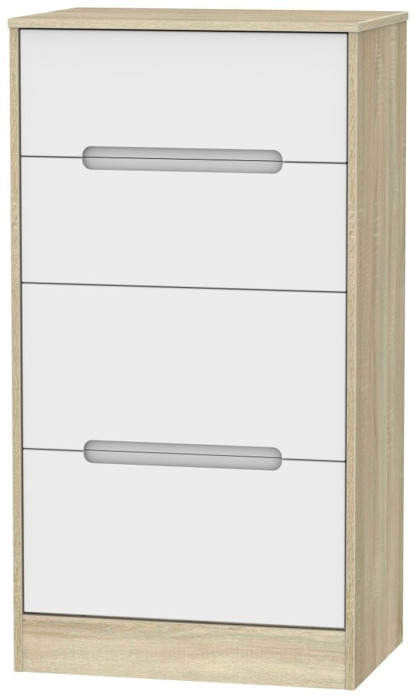 Monaco 4 Drawer Deep Midi Chest - White Matt and Bardolino