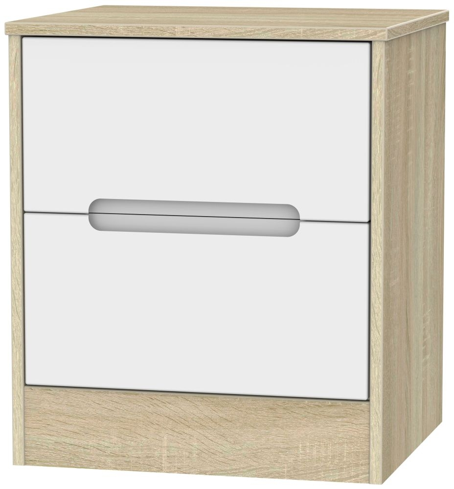 Monaco White Matt and Bardolino Bedside Cabinet - 2 Drawer Locker