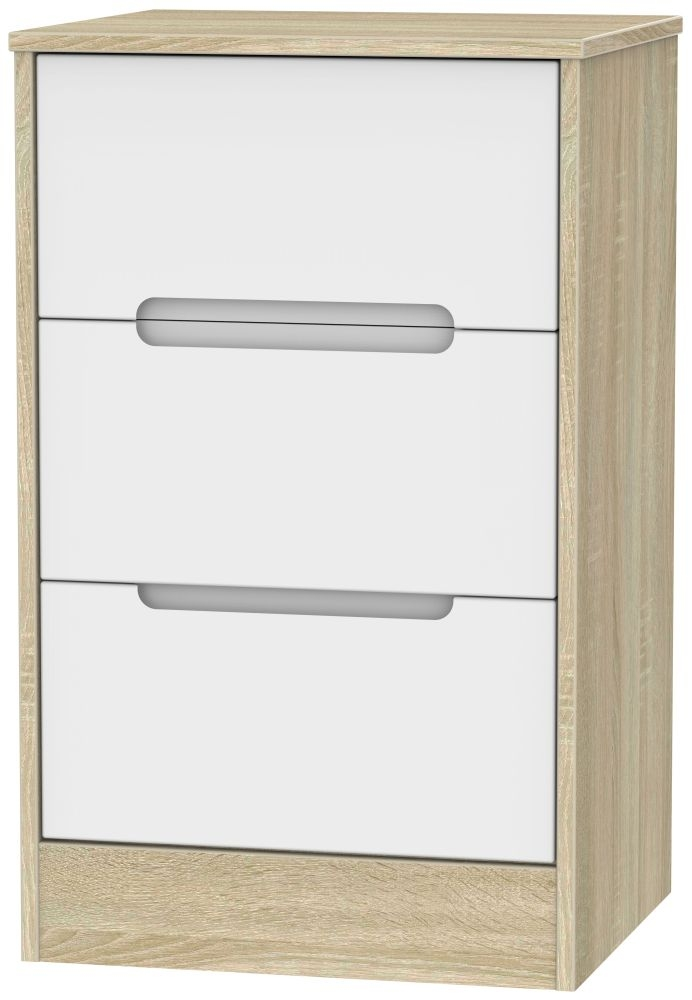 Monaco White Matt and Bardolino 3 Drawer Locker Bedside Cabinet