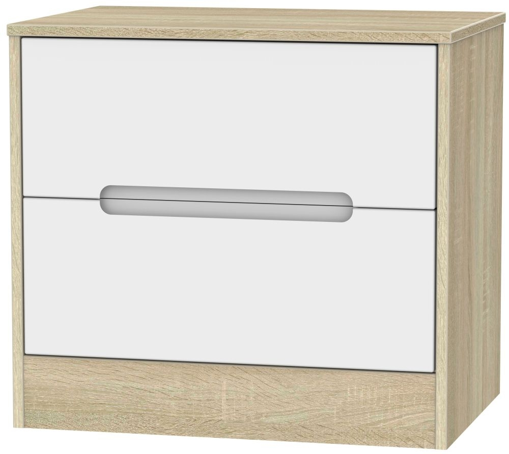 Monaco White Matt and Bardolino Chest of Drawer - 2 Drawer Midi