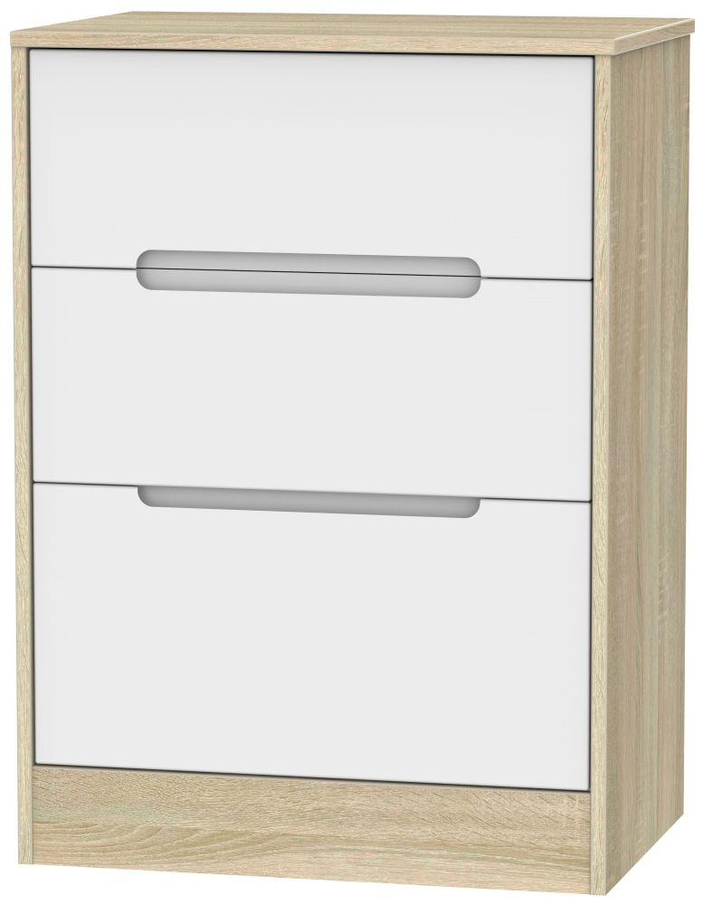 Monaco 3 Drawer Deep Midi Chest - White Matt and Bardolino