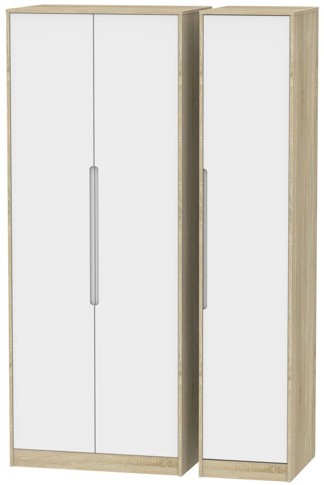 Monaco White Matt and Bardolino Triple Wardrobe - Tall Plain