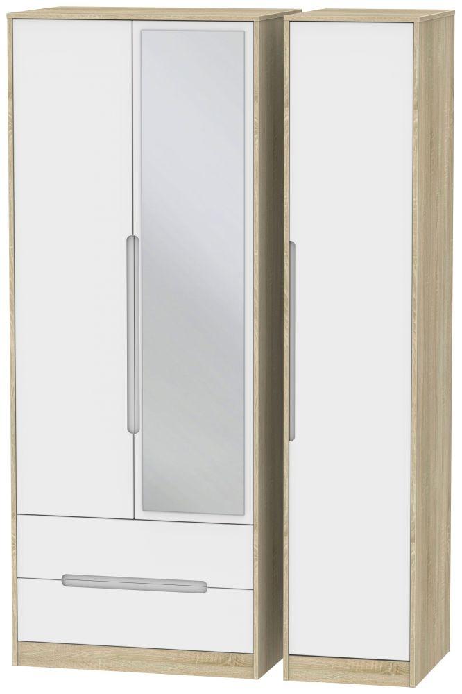 Monaco White Matt and Bardolino 3 Door 2 Left Drawer Tall Mirror Triple Wardrobe