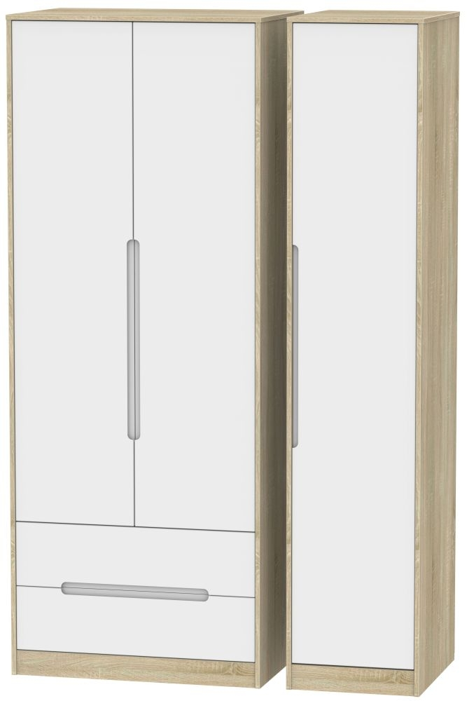 Monaco White Matt and Bardolino 3 Door 2 Drawer Tall Triple Wardrobe