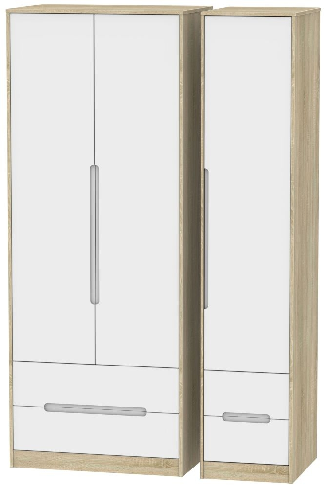 Monaco White Matt and Bardolino 3 Door 4 Drawer Tall Triple Wardrobe