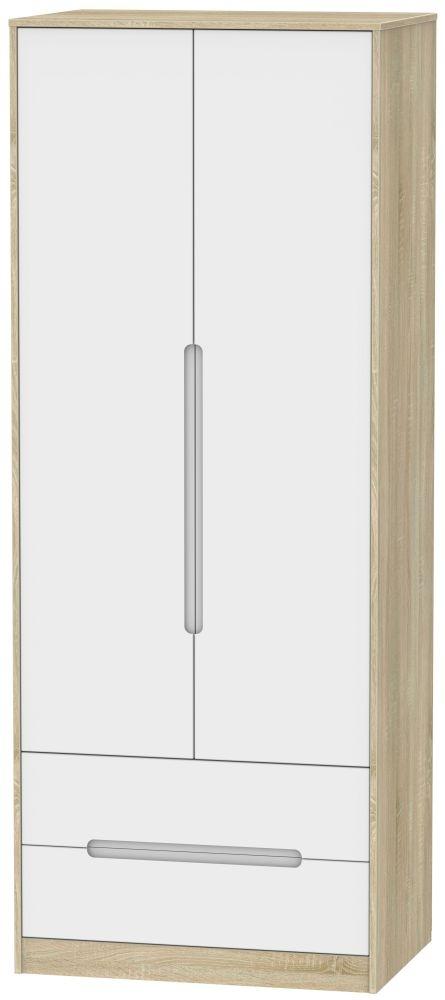 Monaco White Matt and Bardolino 2 Door 2 Drawer Tall Double Wardrobe