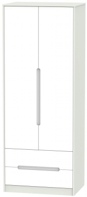 Monaco White Matt and Kaschmir 2 Door 2 Drawer Tall Double Wardrobe