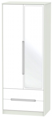 Monaco White Matt and Kaschmir 2 Door 2 Drawer Tall Mirror Wardrobe