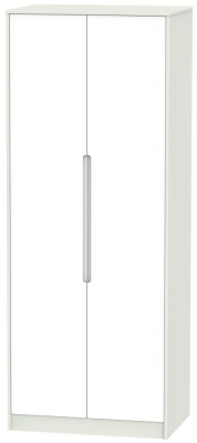 Monaco White Matt and Kaschmir 2 Door Tall Double Hanging Wardrobe