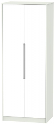 Monaco White Matt and Kaschmir 2 Door Tall Plain Double Wardrobe