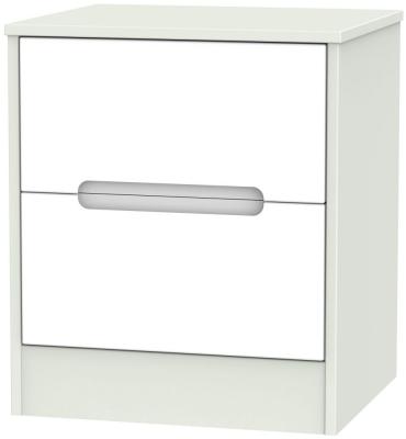 Monaco White Matt and Kaschmir 2 Drawer Locker Bedside Cabinet