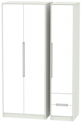 Monaco White Matt and Kaschmir 3 Door 2 Drawer Tall Plain Triple Wardrobe