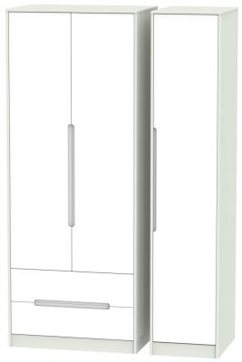 Monaco White Matt and Kaschmir 3 Door 2 Drawer Tall Triple Wardrobe