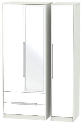 Monaco White Matt and Kaschmir 3 Door 2 Left Drawer Tall Mirror Triple Wardrobe
