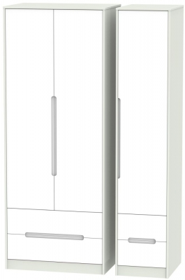 Monaco White Matt and Kaschmir 3 Door 4 Drawer Tall Triple Wardrobe