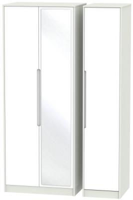 Monaco White Matt and Kaschmir 3 Door Tall Mirror Triple Wardrobe