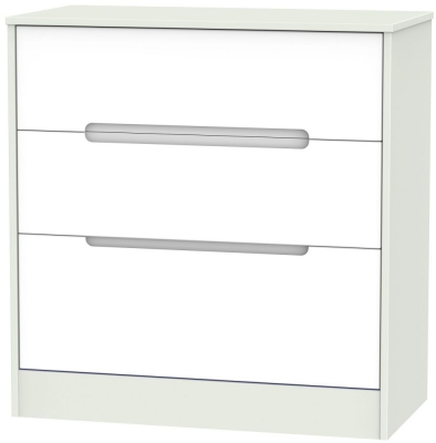 Monaco White Matt and Kaschmir 3 Drawer Deep Chest