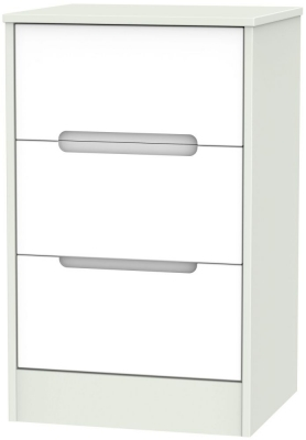 Monaco White Matt and Kaschmir 3 Drawer Locker Bedside Cabinet