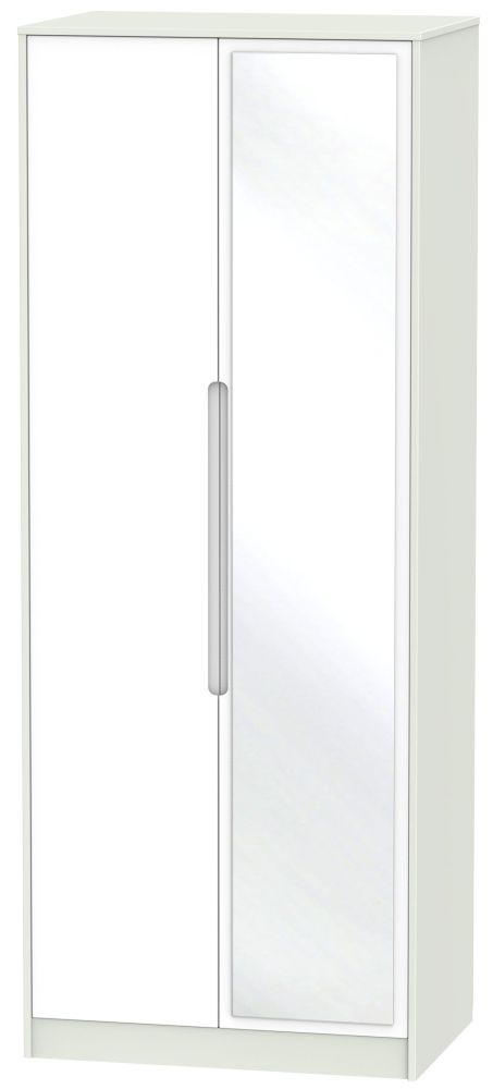 Monaco White Matt and Kaschmir 2 Door Tall Mirror Double Wardrobe