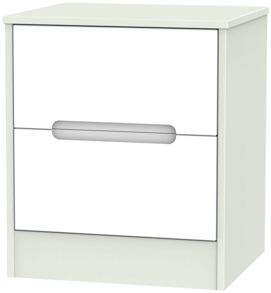 Monaco 2 Drawer Bedside Cabinet - White Matt and Kaschmir