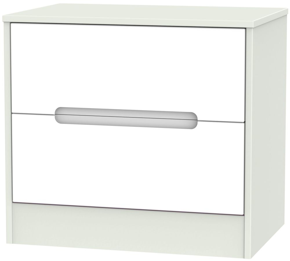 Monaco White Matt and Kaschmir 2 Drawer Midi Chest