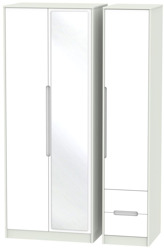 Monaco 3 Door 2 Right Drawer Tall Combi Wardrobe - White Matt and Kaschmir