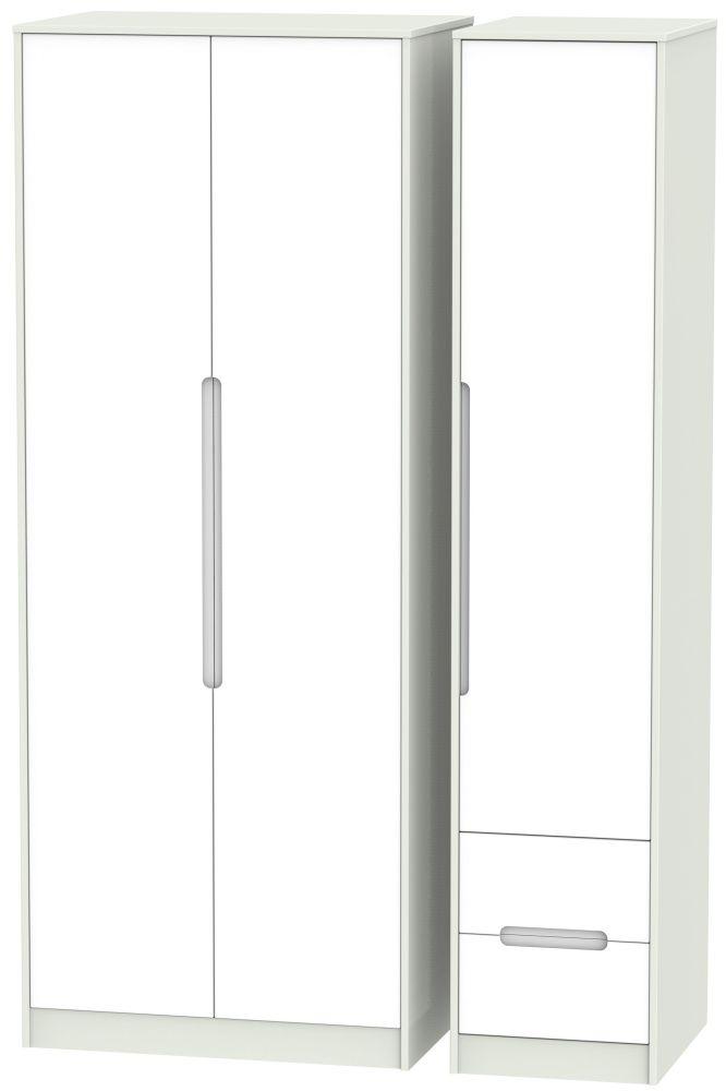 Monaco White Matt and Kaschmir 3 Door 2 Drawer Tall Plain Triple Wardrobe