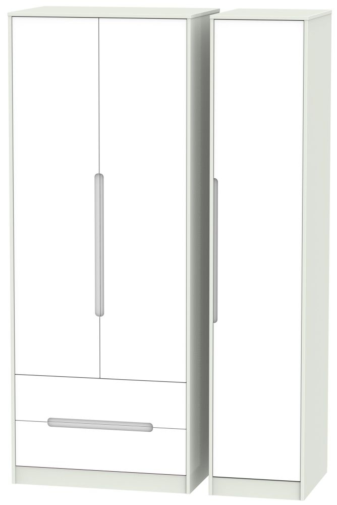 Monaco White Matt and Kaschmir 3 Door 2 Drawer Tall Triple Wardrobe