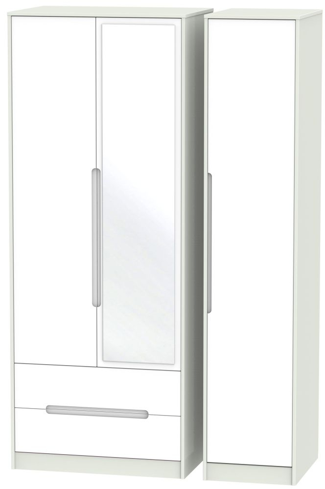 Monaco 3 Door 2 Left Drawer Tall Combi Wardrobe - White Matt and Kaschmir