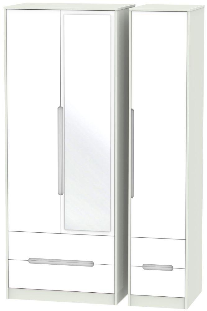 Monaco White Matt and Kaschmir 3 Door 4 Drawer Tall Mirror Triple Wardrobe