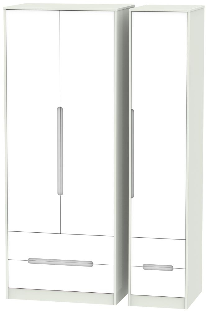 Monaco White Matt and Kaschmir 3 Door 4 Drawer Tall Triple Wardrobe