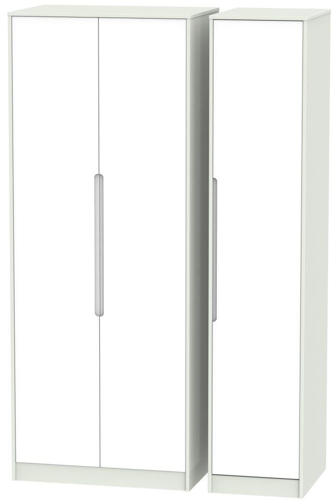 Monaco White Matt and Kaschmir 3 Door Tall Plain Triple Wardrobe