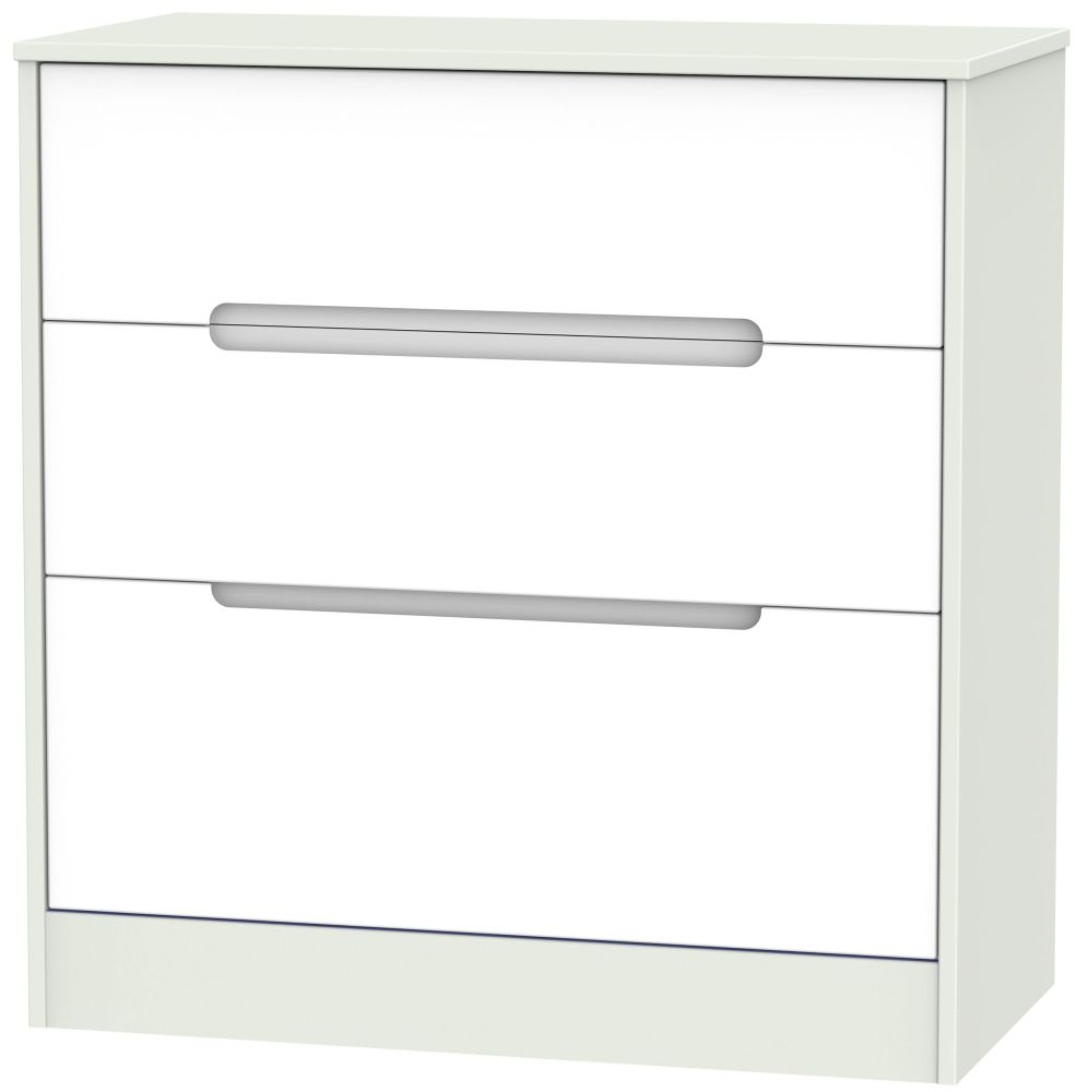 Monaco 3 Drawer Deep Chest - White Matt and Kaschmir