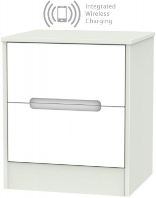 Monaco 2 Drawer Bedside Cabinet with Integrated Wireless Charging - White and Kaschmir