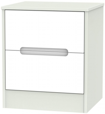 Monaco 2 Drawer Bedside Cabinet - White and Kaschmir