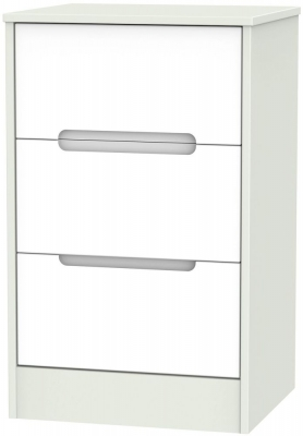 Monaco 3 Drawer Bedside Cabinet - White and Kaschmir