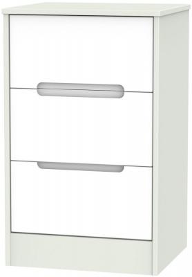Monaco White and Kaschmir Bedside Cabinet - 3 Drawer Locker