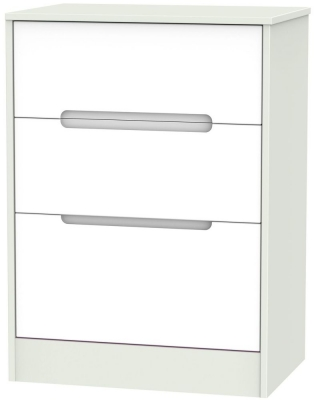 Monaco White and Kaschmir Chest of Drawer - 3 Drawer Deep Midi