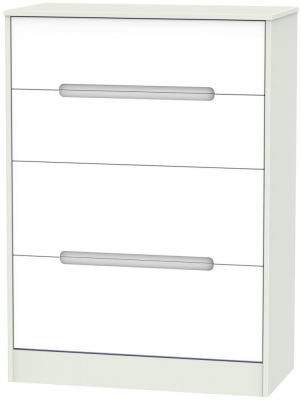 Monaco White and Kaschmir Chest of Drawer - 4 Drawer Deep